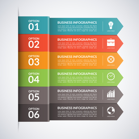 six: Arrow business infographics template.5 steps, parts, options, stages abstract vector background