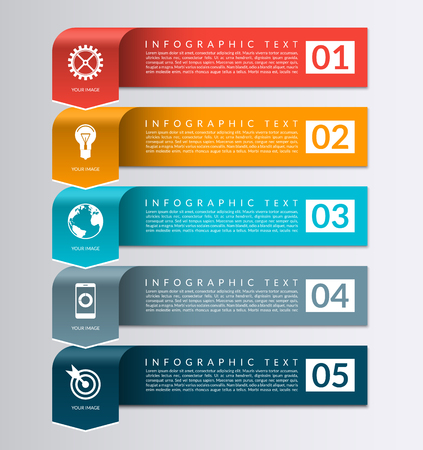 brochure layout: Arrow banner for business infographics. 5 steps, parts, options vector design template