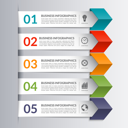 forms: Business infographics design template in the form of colored paper arrows. 5 steps, options, stages vector background banner. Can be used  for web, diagram, graph, report, presentation.