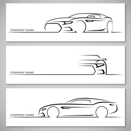 portada: deportivas modernas siluetas de automóviles. Frente, 34 y vista lateral. fondo del vector Vectores