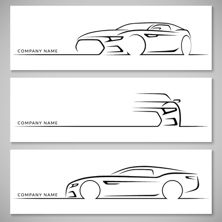 34: Modern sports car silhouettes. Front, 34 and side view. Vector background