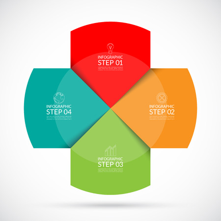 graph: Infographic circular template. Can be used  for web, diagram, graph, report, round chart. 4 steps vector background