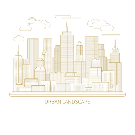 megapolis: Thin line city landscape concept illustration. View of the business center of a big city. Flat design abstract vector background