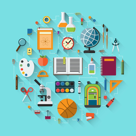 stationary: School background with education icons set. School supplies - schoolbook, notebook, pen, pencil, paints, stationary, training aids, school bag, globe, rulers, basketball, calculator etc. Flat design Illustration