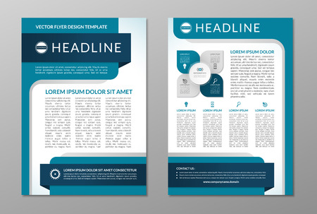 reports: Business brochure flyer design template. Front and back page in A4 size. Vector layout with set of icons and infographic elements