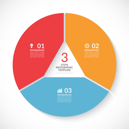 visualisation: Infographic circle banner. Template for graph, report, presentation, data visualisation, cycling diagram, round chart, number options, web design. 3 steps vector background
