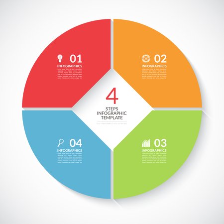 visualisation: Infographic circle banner. Template for graph, report, presentation, data visualisation, cycling diagram, round chart, number options, web design. 4 steps vector background