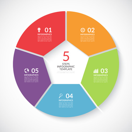 visualisation: Infographic circle banner. Template for graph, report, presentation, data visualisation, cycling diagram, round chart, number options, web design. 5 steps vector background