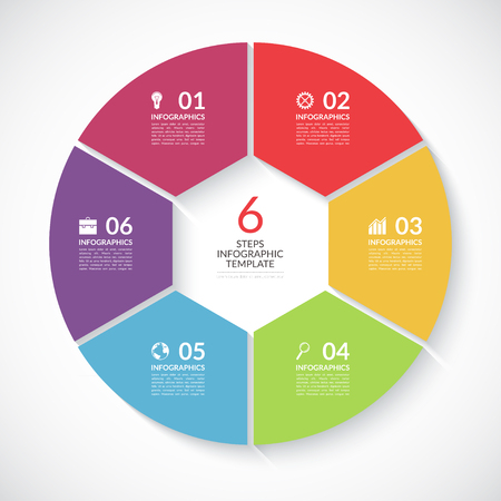 visualisation: Infographic circle banner. Template for graph, report, presentation, data visualisation, cycling diagram, round chart, number options, web design. 6 steps vector background