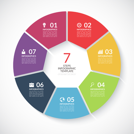 Infographic circle banner. Template for graph, report, presentation, data visualisation, cycling diagram, round chart, number options, web design. 7 steps vector background Vectores