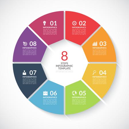 Infografika banner okręgu. Szablon wykresu raportu, prezentacji, wizualizacji danych, schemat rowerowej, okrągły wykresie, opcje numerycznych, projektowania stron internetowych. 8 kroków tło wektor