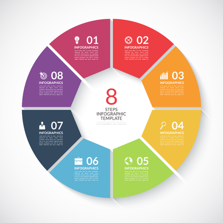 Infographic circle banner. Template for graph, report, presentation, data visualisation, cycling diagram, round chart, number options, web design. 8 steps vector background