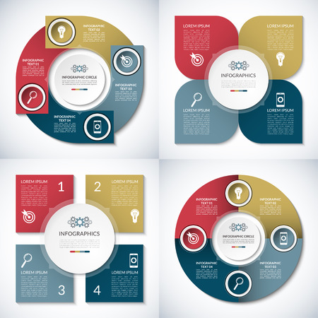 circle design: Set of business infographic circle templates. Can be used for presentation, workflow layout, brochure, chart, number  options, web design. Vector background banners with 4 steps, parts, options Illustration