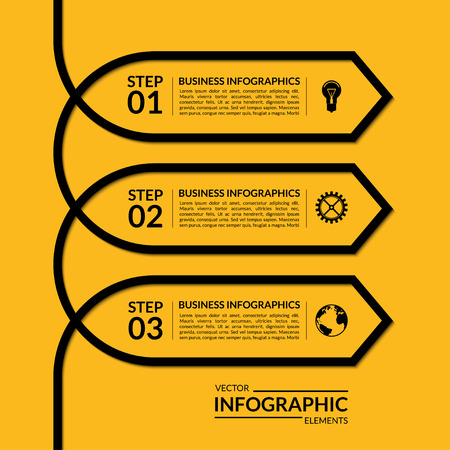 Simple infographic arrow template. Vector banner with 3 steps, parts, options stages. Abstract background