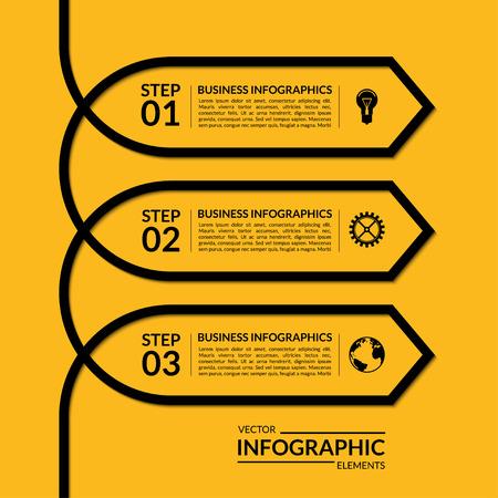간단한 인포 그래픽 화살표 템플릿입니다. 3 단계, 부품, 옵션 단계 벡터 배너입니다. 추상적 인 배경