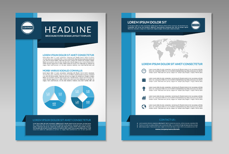 business background: Brochure flyer design layout template. Front and back page in A4 size. Business background with marketing icons and infographic elements. Vector illustration Illustration