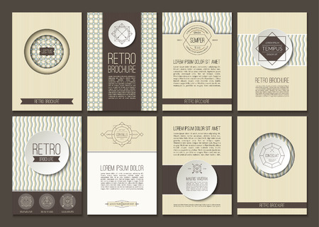 poster backgrounds: Set of brochures in vintage style. Vector design layout templates. Retro backgrounds with geometric frames, signs, labels. Can be used for flyer, booklet, menu, book, leaflet, poster, web design