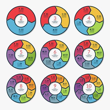 인포 그래픽 원 화살표 템플릿 집합입니다. 벡터 개념 배너 2, 3, 4, 5, 6, 7, 8, 9, 10 옵션 단계 부이다. 그래프, 보고서, 프리젠 테이션, 다이어그램, 차트,  일러스트