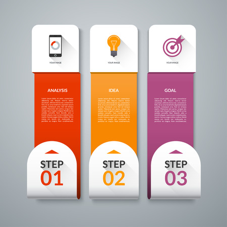 Infographic design template with marketing icons. Vector banner in the form of curved paper strips.