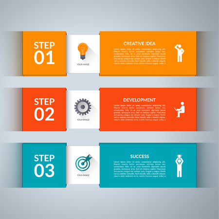 three colors: Infographic design template with marketing icons set.