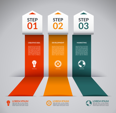 arrow sign: Infographic design template with the set of marketing icons. Vector banner in the form of broken colored paper arrows. Business concept with 3 steps, parts, options