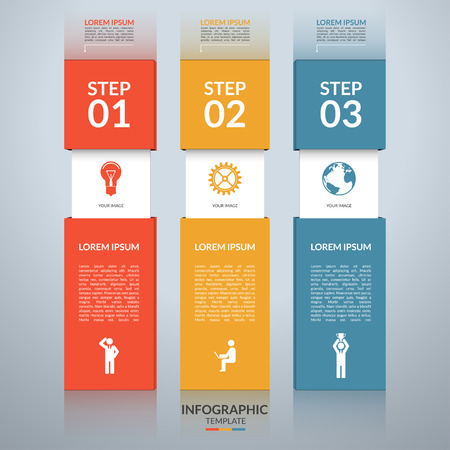 Infographic design template with the set of marketing icons. Business concept with 3 steps, parts, options. Can be used for workflow layout, diagram, number options, web design. Vector illustration