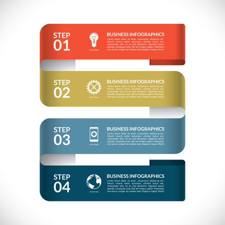 strip design: Modern infographic design template. Numbered banner in the form of a curved paper strip. Can be used for web, diagram, graphic layout, chart, etc. Vector background with 4 steps, parts, options