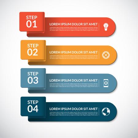 Affaires modèle infographique. banderoles en papier courbes et des éléments infographiques. Vecteur de fond avec 4 étapes, pièces, options Vecteurs