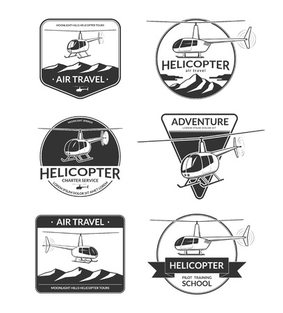 helicopter pilot: Set of helicopter labels, emblems, badges, design elements. Helicopter tours, air travel, charter, pilot training school in vintage style