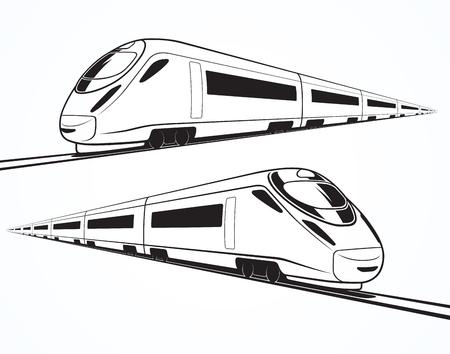 Ensemble de silhouettes modernes de trains à grande vitesse, des contours, des contours. Train à grande vitesse en mouvement. Isolé sur fond blanc