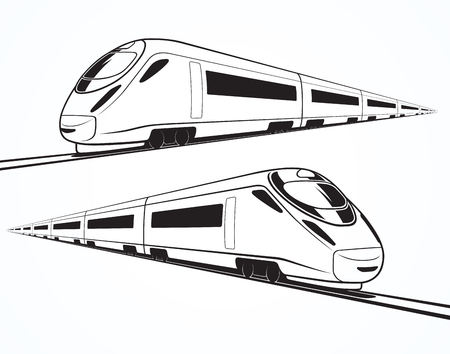 Zestaw nowoczesnych szybkich pociągów sylwetki, kontury, kontury. Szybki pociąg w ruchu. Pojedynczo na białym tle