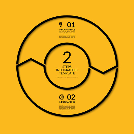 for design: Infographic circle template. Simple black concept banner with 2 options, steps, parts. Can be used for graph, report, presentation, diagram, chart, web design