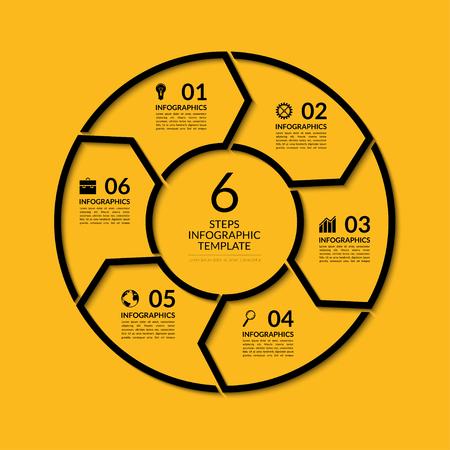 Infografika szablon koło. Proste czarnym pojęcie transparent z 6 opcji, schody, części. Może być stosowany do wykresu, raportów, prezentacji, diagram, wykres, web design