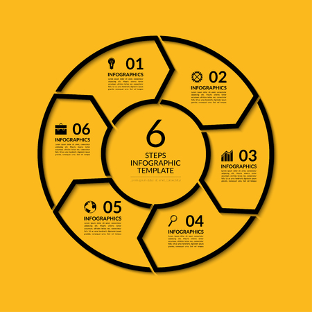 six: Infographic circle template. Simple black concept banner with 6 options, steps, parts. Can be used for graph, report, presentation, diagram, chart, web design