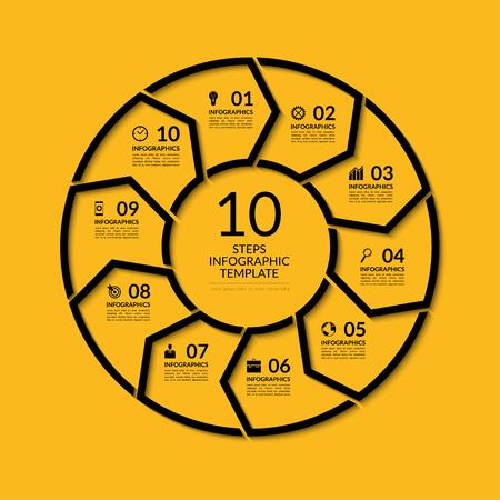 인포 그래픽 원 템플릿입니다. 10 옵션, 단계, 부품 간단한 검은 개념 배너입니다. 그래프, 보고서, 프리젠 테이션, 다이어그램, 차트, 웹 디자인에 사용