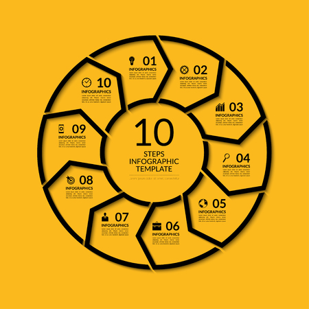 Infografika szablon koło. Proste czarnym pojęcie transparent z 10 opcji, schody, części. Może być stosowany do wykresu, raportów, prezentacji, diagram, wykres, web design