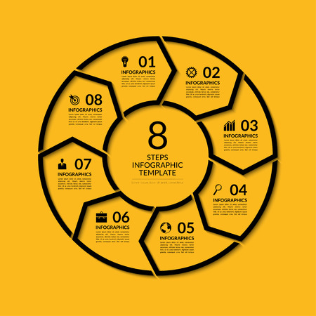 visualisation: Infographic circle template. Simple black concept banner with 8 options, steps, parts. Can be used for graph, report, presentation, diagram, chart, web design