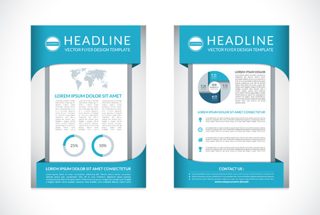 back round: Brochure design template in A4 size. Front and back page. Business layout with infographic elements