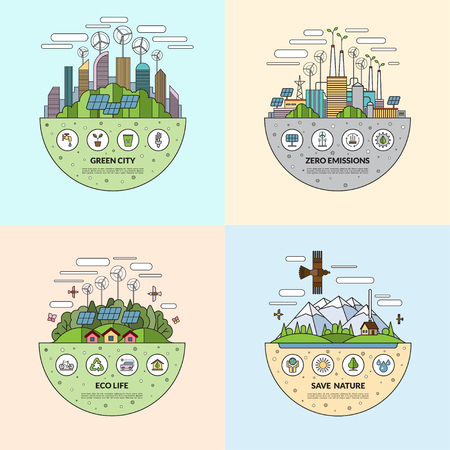 emission: Set of thin line flat ecology concept illustrations with icons of environment, green city, eco life, nature saving, alternative energy, zero emissions, recycling, eco-friendly transport
