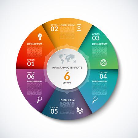 6 단계, 부품, 옵션, 분야, 단계와 인포 그래픽 원 템플릿입니다. 대한 그래프, 파이 차트, 워크 플로우 레이아웃, 자전거도, 안내 책자, 보고서, 프리젠