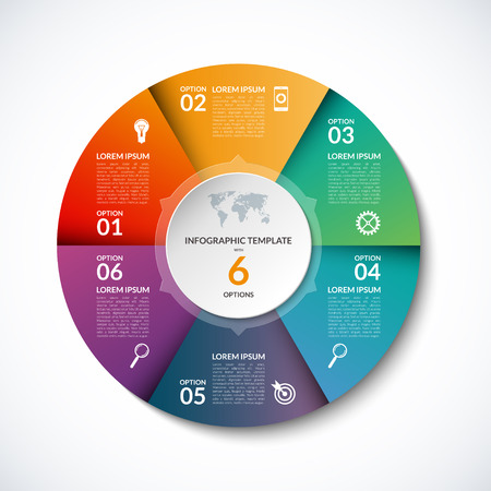 graph report: Infographic circle template with 6 steps, parts, options, sectors, stages. Can be used for  for graph, pie chart, workflow layout, cycling diagram, brochure, report, presentation, web design. Illustration