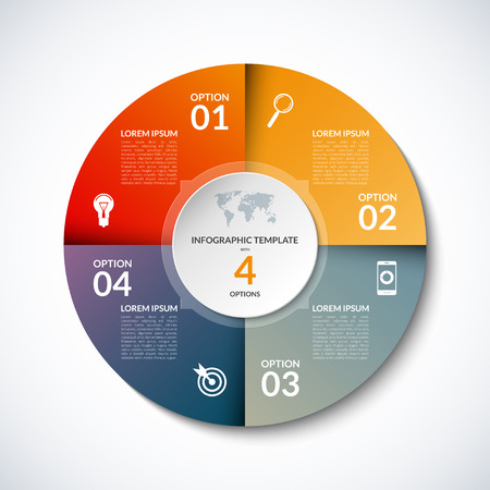 infographic circle template with 4 steps, parts, options, sectors, stages. Can be used for  for graph, pie chart, workflow layout, cycling diagram, brochure, report, presentation, web design.