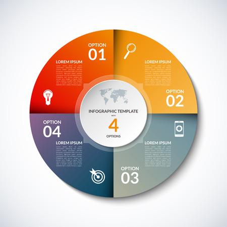 Infografik Kreisschablone mit 4 Stufen, Teile, Optionen, Sektoren, Phasen. Kann für für Graph, Kreisdiagramm, Workflow-Layout, Radfahren Diagramm, Broschüre, Bericht, Präsentation, Web-Design verwendet werden.