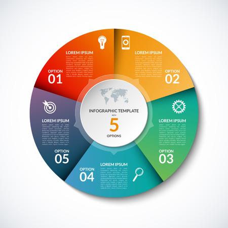 5 단계, 부품, 옵션, 섹터, 스테이지가있는 infographic circle 템플릿. 그래프, 원형 차트, 작업 흐름 레이아웃, 사이클링 다이어그램, 브로셔, 보고서, 프리