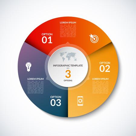 3 단계, 부품, 옵션, 섹터, 스테이지가있는 Infographic circle template. 그래프, 원형 차트, 작업 흐름 레이아웃, 사이클링 다이어그램, 브로셔, 보고서, 프리젠