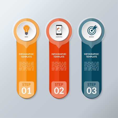 vertical bar: Vector infographic layout template with 3 buttons, steps, parts, options. Vertical banner with business icons and transparent design elements. Can be used for web, chart, graph, diagram, presentation