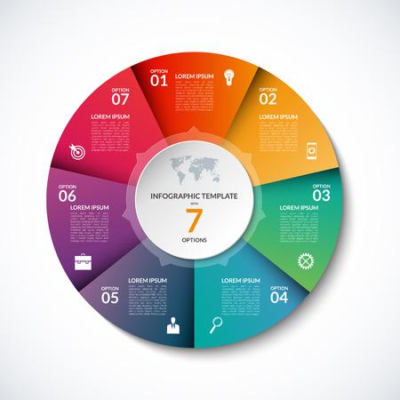 7 단계, 부품, 옵션, 섹터, 단계와 함께 Infographic 원 템플릿. 그래프, 원형 차트, 작업 흐름 레이아웃, 사이클링 다이어그램, 브로셔, 보고서, 프리젠 테이