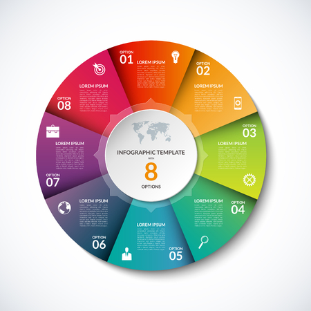sectors: Vector infographic circle template with 8 steps, parts, options, sectors, stages. Can be used for  for graph, pie chart, workflow layout, cycling diagram, brochure, report, presentation, web design. Illustration