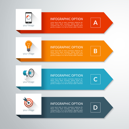 materials: Modern minimal arrow elements for business infographics. Vector banner in material style with 4 steps, options, parts. Can be used for workflow layout, brochure, diagram, chart, report, web design Illustration