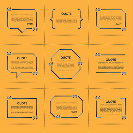 parentheses: Set of vector quote templates. Quote speech bubble, quote frame, quote sign, text in brackets. Empty quote boxes with marks isolated on trendy yellow background Illustration